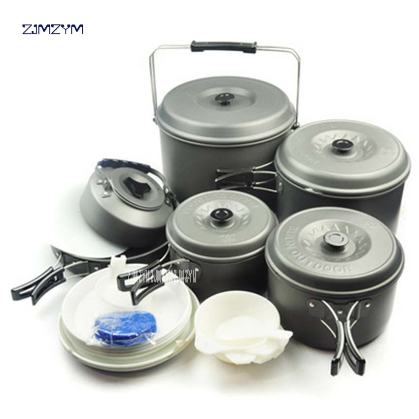 12 Person Travel Pots Set Large Capacity Lightweight Camping Pots Bowls Outdoor Cookware Tableware Family Set pot BL200-C10 1pc стоимость