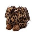 2017 Новое Прибытие Мех Кролика Плечо Сумки Мода Любимых женщин Сумки Посыльного Черный Серый Сексуальная Leopard дамские Сумки XA1801C