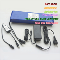 Multifunctional 25000MAH 12V 25AH Li ion Batteries for Power Bank with Free Charger & 5V USB Buck Converter & DIY Connector
