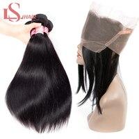 LS волосы прямые волосы пучки с 360 кружево спереди Закрытие 100% бразильские Реми человеческие волосы плетение пучков 8 26 дюймов Бесплатная дос