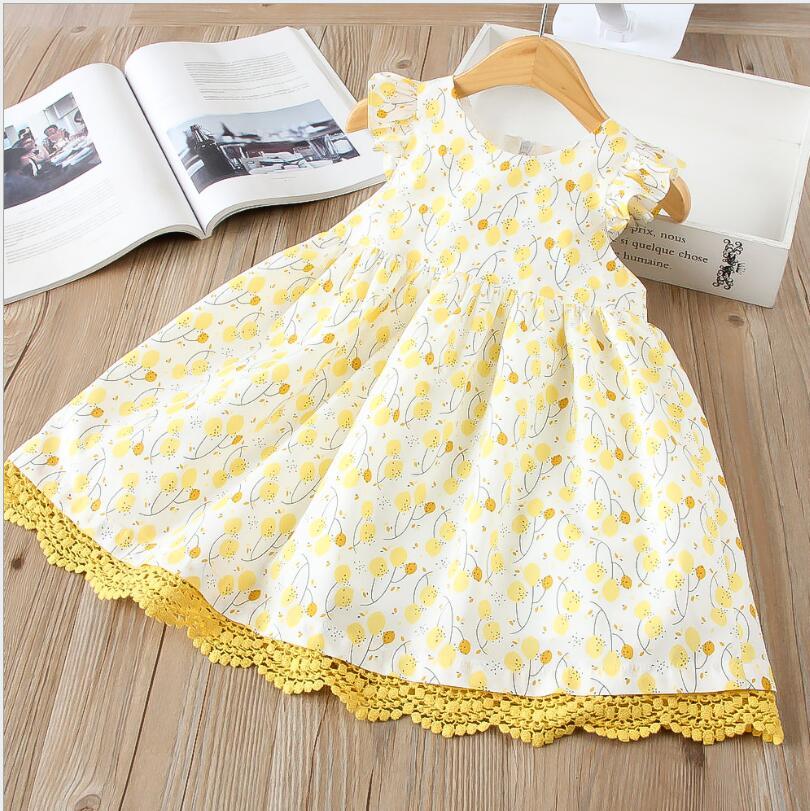 Yeni Bebek Kız Yaz Baskılı Sarı Dantel Trim Elbise, prenses Çocuk Dazzel Elbise 6 adet/grup, toptan