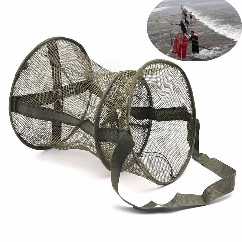 נייד כהה ירוק דיג נטו עגול מתקפל דגי שרימפס כלוב רשת יצוק נטו דיג מלכודת רשת פי נחיתה נטו