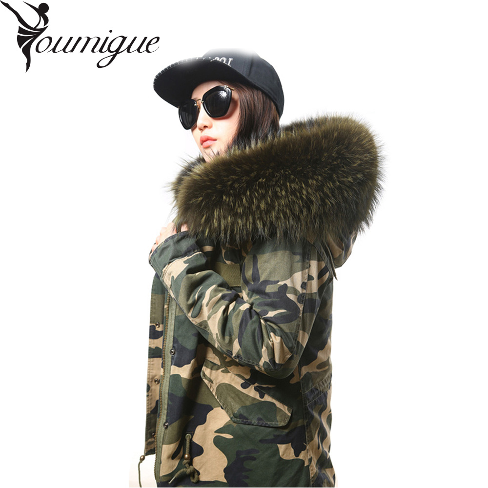 YOUMIGUE army green Large raccoon fur collar hooded coat parkas outwear 2 in 1 detachable real fox fur lining winter jacket women large collar army camouflage fox fur liner hooded coat outwear real fox fur lining jacket woman brand dhl free shipping