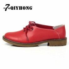 QIYHONG2017/высококачественные Туфли-оксфорды из натуральной кожи Модная популярная женская повседневная обувь тонкие туфли большого размера(35-41