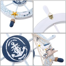 Home Ocean Sea Sailor Decor Painted Nautical Wooden Ship Wheel Fishing Net Personality Collection perfect gift home office boat