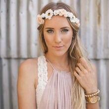 7 Cores Mulheres Senhora Menina Boemia Artesanal Flor Da Coroa Coroa De Flores de Casamento Nupcial da Mantilha Headband Hairband Faixa de Cabelo Acessórios