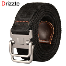 Drizzte 100-190cm Big and Tall Mens Double Ring Buckle Canvas Cloth Belts Web Belt Black Plus Size Waist Belt For Jeans