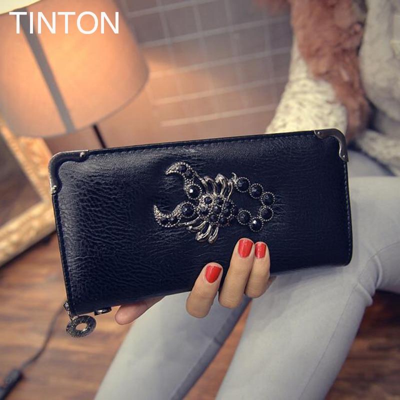 TINTON 2018 New fashion ladies retro purse PU ladies high-end wallet skull wallet Scorpio wallet card bit simple coin purse hot