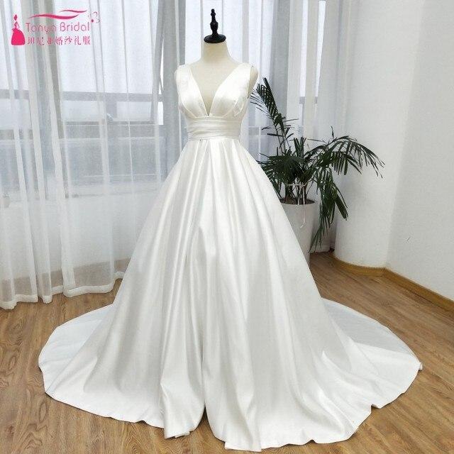 Satin V-Neck Wedding Dresses 2019 News A Line Ball Gown robe de soiree  Simple Elegant country vestidos de novia ZW114 53a747b5a