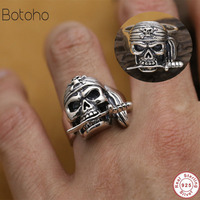 925 Sterling Sliver Filled Adjustable Rings For Women Man Trendy Fashion Party Punk Pirate Fashion Luxury personality charm ring