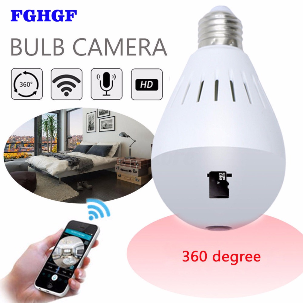 FGHGF 360 Degree Wireless IP Camera 960P Bulb Light FishEye HD Smart CCTV Camera 1.3MP Home Security WiFi Panoramic IP Camera new hd 3mp led bulb light wireless camera fisheye panoramic wifi network ip home security camera system for ios android p2p