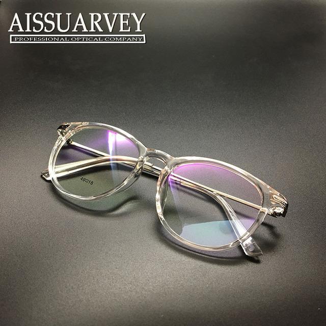 Marco de anteojos mujeres marco de los vidrios ventage redondo del círculo del metal de la prescripción óptica estilo coreano diseñador de la marca transparente