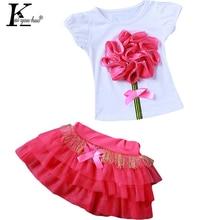Dívčí set oblečení – sukně s mašlí a tričko s kytičkou