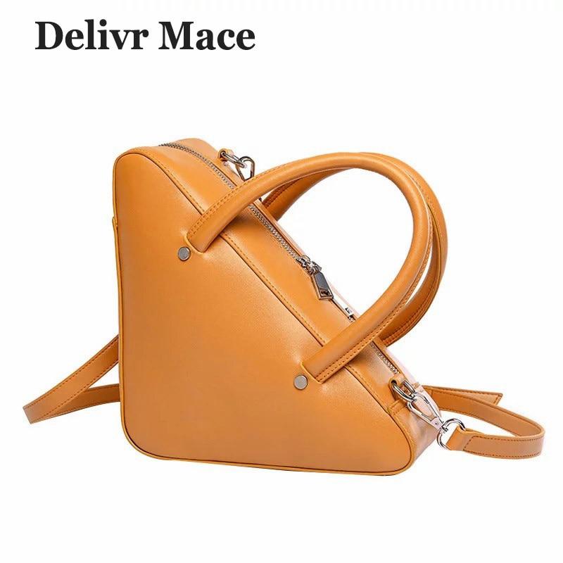 Women Leather <font><b>Handbags</b></font> Luxury Brand Bags Triangle <font><b>Yellow</b></font> Women <font><b>Handbags</b></font> Crossbody Shoulder Bags Messenger Bag Female Sac A Main