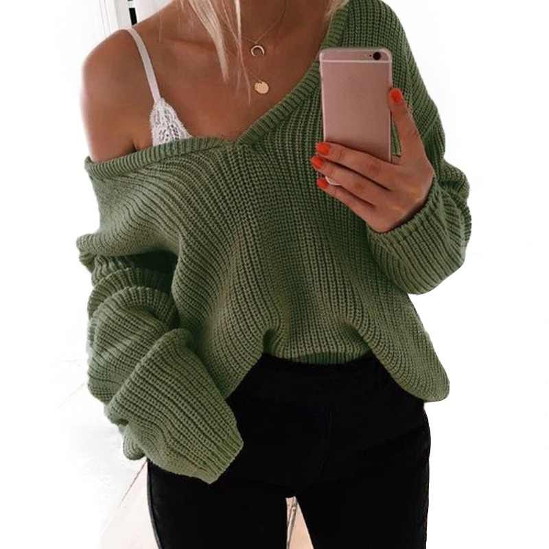 7 Color 2018 Autumn winter Knit sweater women pullover sweaters deep V-neck loose jumper pullover women pull femme sweaters