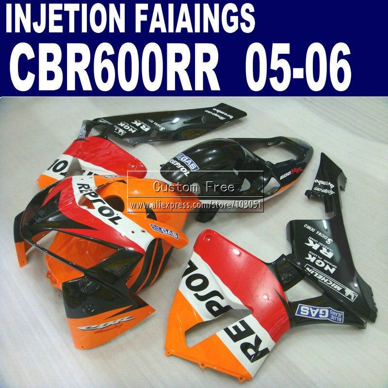 motorcycle Injection fairings kit for Honda repsol 600 RR fairing CBR600RR 2005 2006 CBR 600RR 05 06 orange  kits & seat cowl