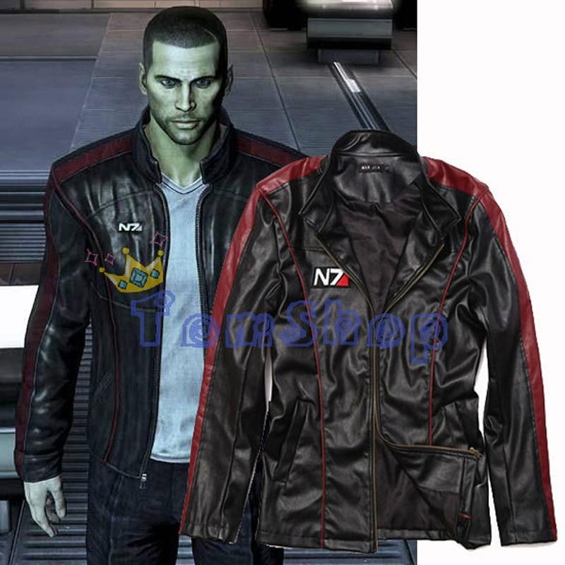 Mass Effect 3 Cosplay Costume N7 Commander Shepard Stylish Zipper up Black Leather Jacket Coat Size