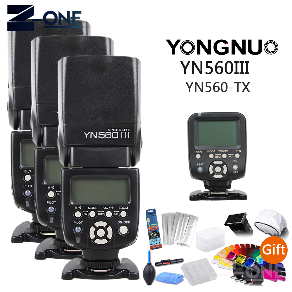 3 pièces Yongnuo YN560III YN560 III Flash Radio manuel Speedlite + YN560-TX YN560TX contrôleur sans fil LCD pour appareil photo Canon cadeau
