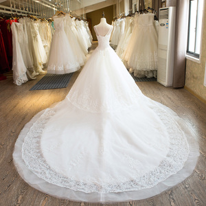 Image 2 - SL 25 New Sweetheart Cathedral Train Lace up  Pearls Wedding Dress 2017