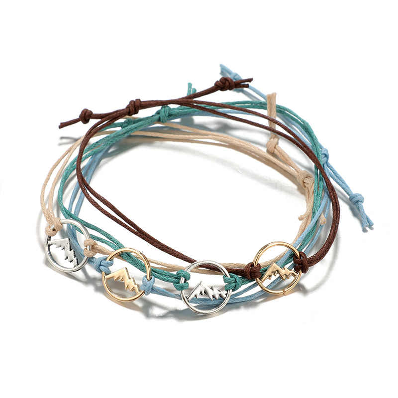 2019 New Colorful Rope Layered Bracelets Set for Women Mountain Peak Charms Adjustable Bracelet Bangle Party Jewelry drop ship