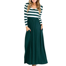 2018 autumn and winter new women s dresses Amazon explosions Europe and the  United States round neck striped stitching dress 9f7bdf387753