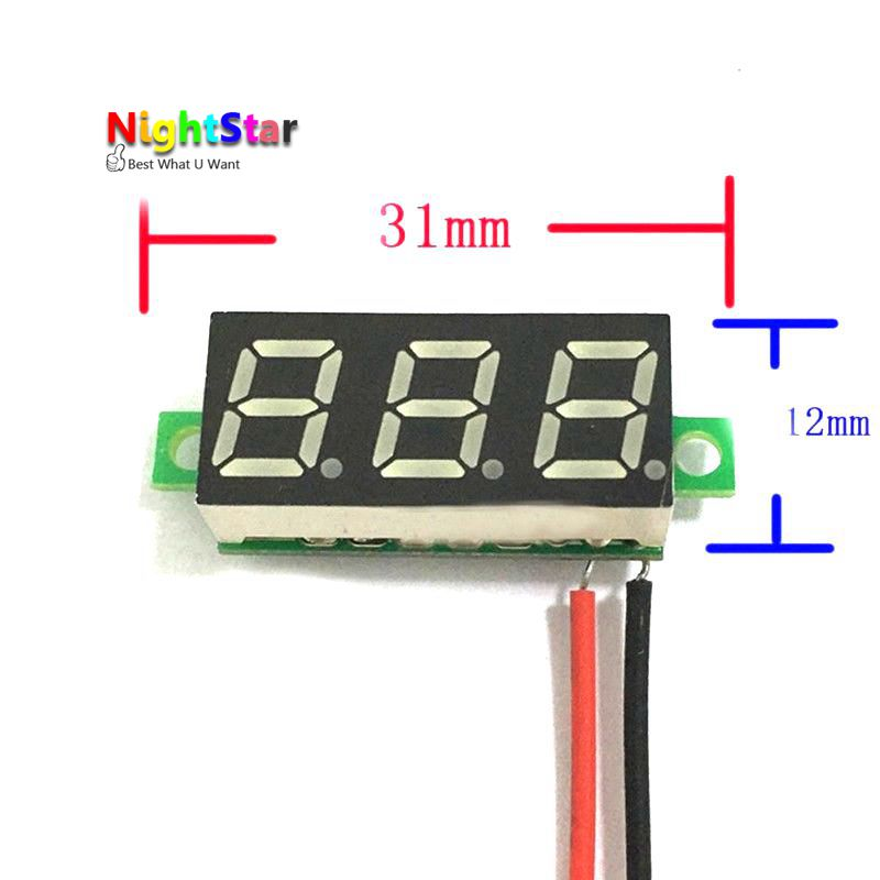 DC 4.5-30V 2 Wire LED Display Digital Voltage Voltmeter Panel Car Motorcycle Color/ Blue Green Red 5pcs dc 6 12v measuring range 2 wire connect red led digit voltmeter