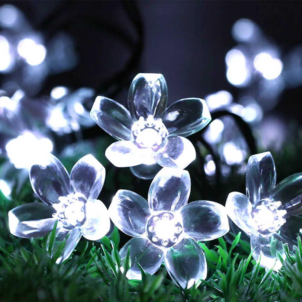 Солнечного света строки 30/50 светодиодный гирлянда открытый цветок светодиодный Строка Фея Рождественская елка свет вечерние свадебные Новый год украшения