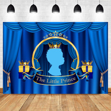 NeoBack Royal Little Prince Photography Backdrop Blue Curtain Crown Photo Booth Background Studio Baby Shower Family Theme Party