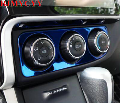 BJMYCYY 1PCS Stainless steel decoration frame of control air conditioning panel in automobile For Toyota corolla 2017-2018