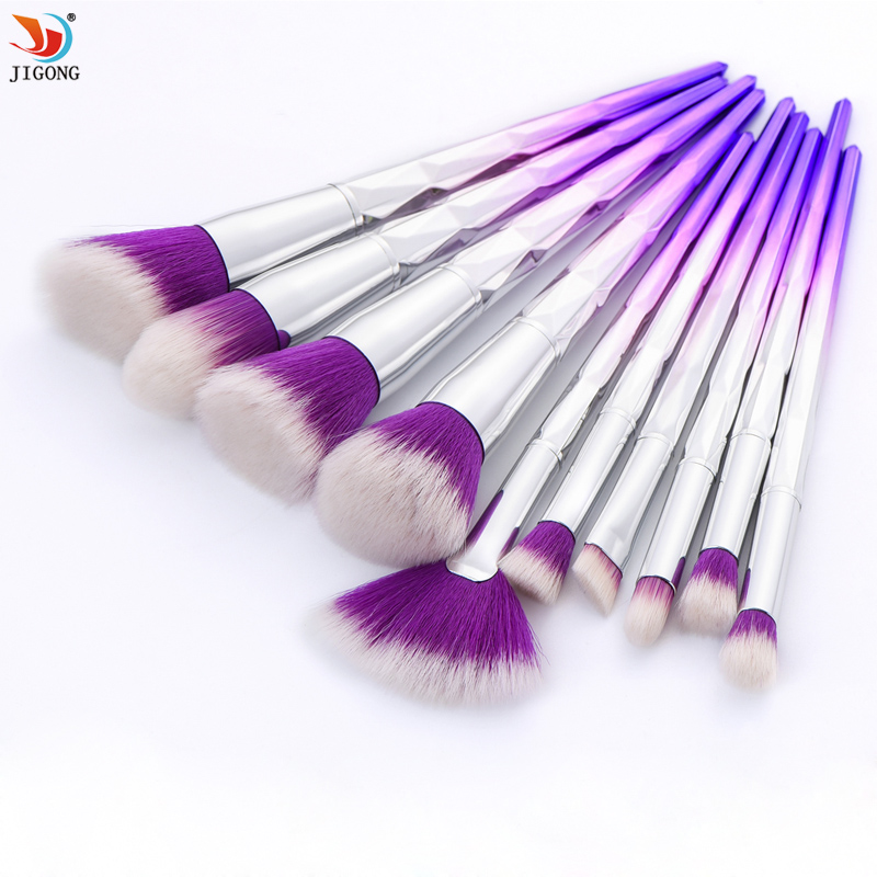 10 pcs Makeup Brushes Set Rainbow Gradient Diamond Cosmetic Base Brush Foundation Eye shadow Blush Powder Make up Brush Kit 7 pcs portable cosmetic wooden handle makeup brushes set make up eye shadow blush brush cosmetic kit with pouch bag