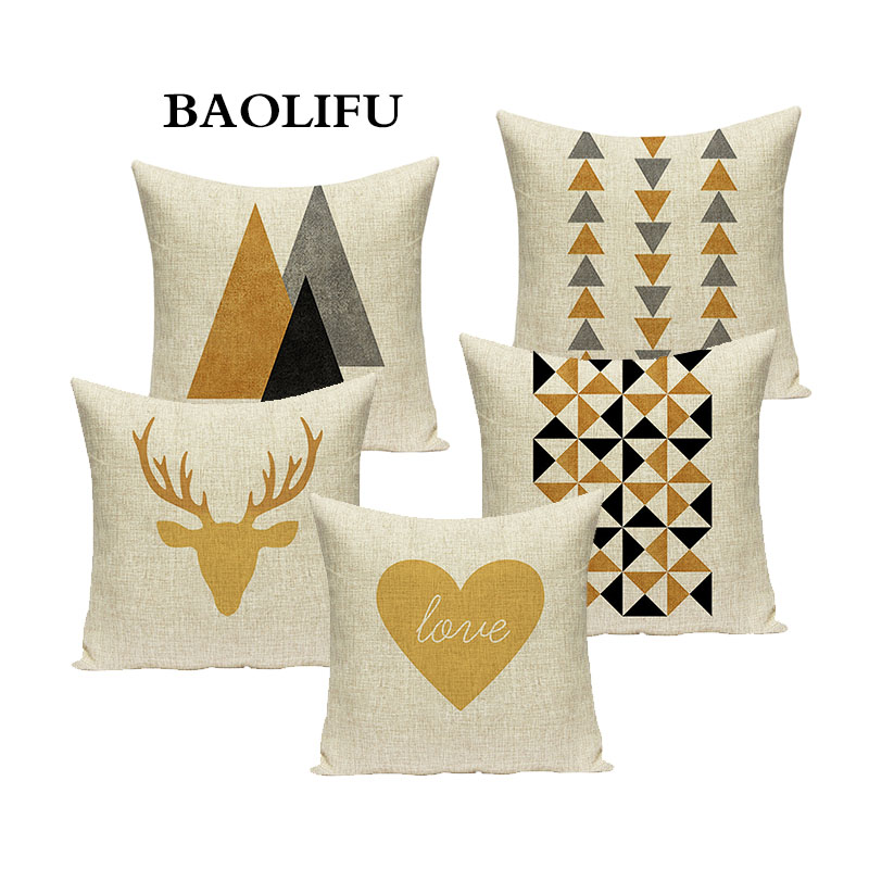 Nordic Round Triangle Pillowcase Yellow Geometric Cushion Cover Deer Heart Throw Pillow for Car Sofa Home Decoration Pillowcase