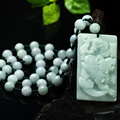 Natural A jade cargo the mythical wild animal the mythical wild animal light green jade pendant