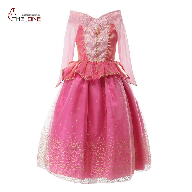 MUABABY Girls Dresses Sleeping Beauty Costume Long Sleeve Aurora Cosplay Party Dancing Tulle Dress Children Kids Summer Clothing цена