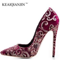 KEAIQIANJIN/женские свадебные туфли-лодочки с вышивкой, большие размеры 33-43, пикантные туфли на очень высоком каблуке, вечерние туфли на шпильке