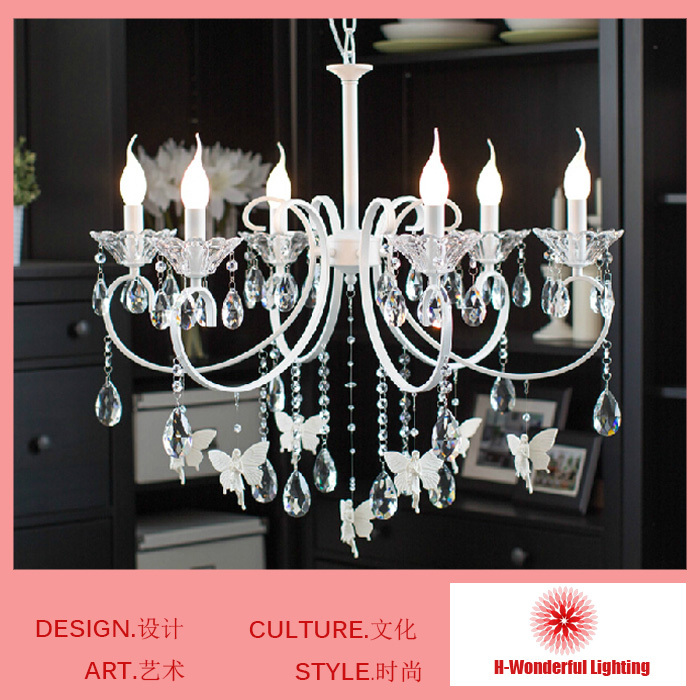 8 Lamps chandelier Creative Crystal Chandelier for Cottage Lights Girl room baby room