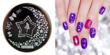 купить ##hehe014 New 2018 Bow Tie Nail Stamping Plates 5.5x5.5cm Stainless Steel Nail Art Stamp Templates Manicure Tools DIY Nail Art по цене 65.34 рублей
