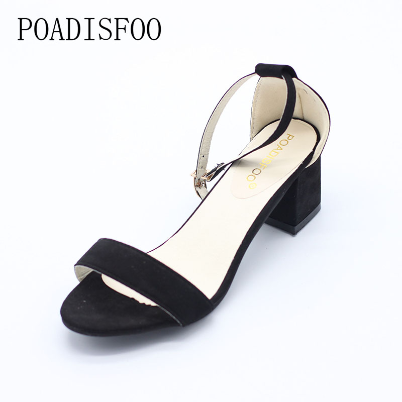 POADISFOO N1 Store [H]Summer Think Mid Heel Dress Sandals Rough With The Fish Head Word Buckle Sandals open-toed Sandals European .DFGD-528