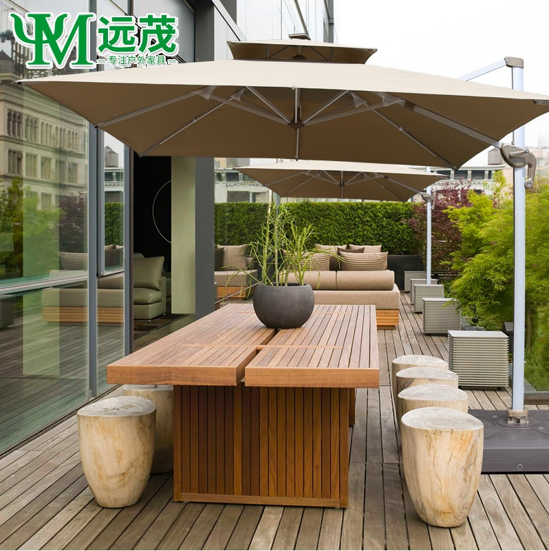 All Aluminum Adjustable Cantilevel Parasols For Deck Open Space / 3x3m Extended Cover