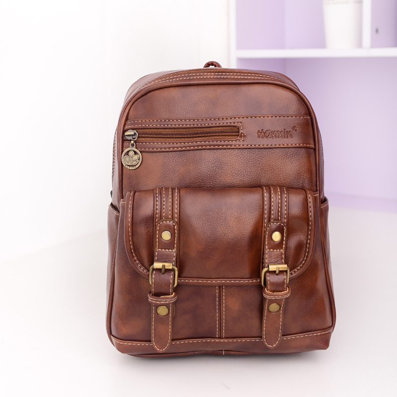 Vintage Women Casual PU Leather Backpack Fashion Travel School Backpacks Daypack Mochila Bag