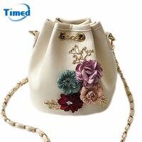 Timed 2017 New Design Handmade Flowers Bucket Bags Mini Shoulder Bag Chain Drawstring Small Cross Body