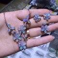 Derongems_Fine Jewelry_Elegant Natural Opal Flor de La Boda Sets_S925 Plata Verdadero Ópalo Joyería Sets_Manufacturer Ventas Directamente