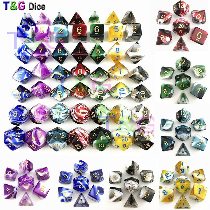 T&G High Quality COLORFUL Decider Die Transparent & White Color Dice Mixed-color D4-D20 For RPG ,Board Game,party Favor