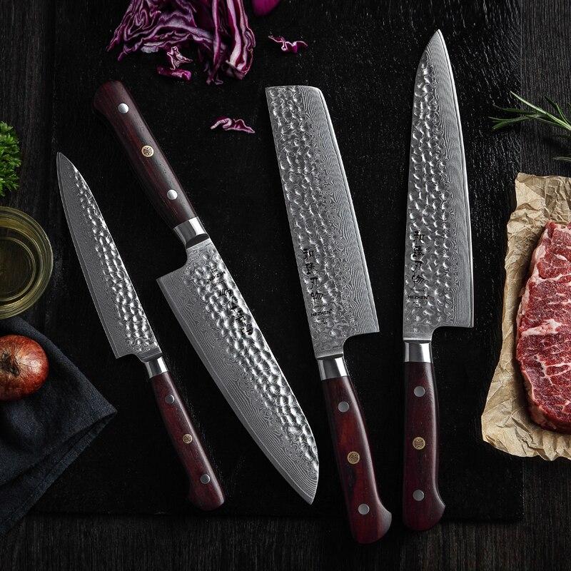 HEZHEN 4PCS Kitchen Knife Set VG10 Chef Santoku Nakiri Utility Knife Japan Damascus steel Kitchen Cooking Tools Dalbergia Handle in Knife Sets from Home Garden