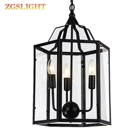 Pendant light American country retro Birdcage lamp Creative restaurant bar home lighting iron cage with shade