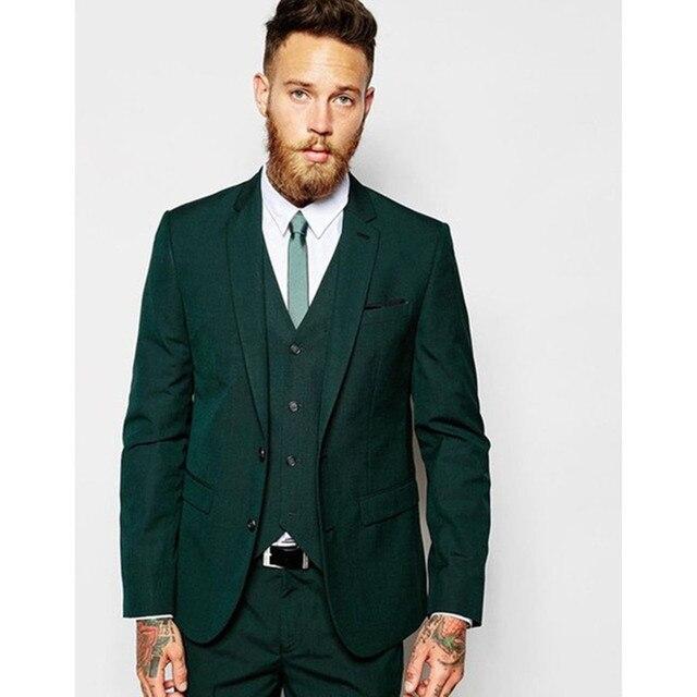 époustouflant Petit Revers Cran Vert Foncé Hommes Costume 2017 Slim Fit Fomal &MC_74