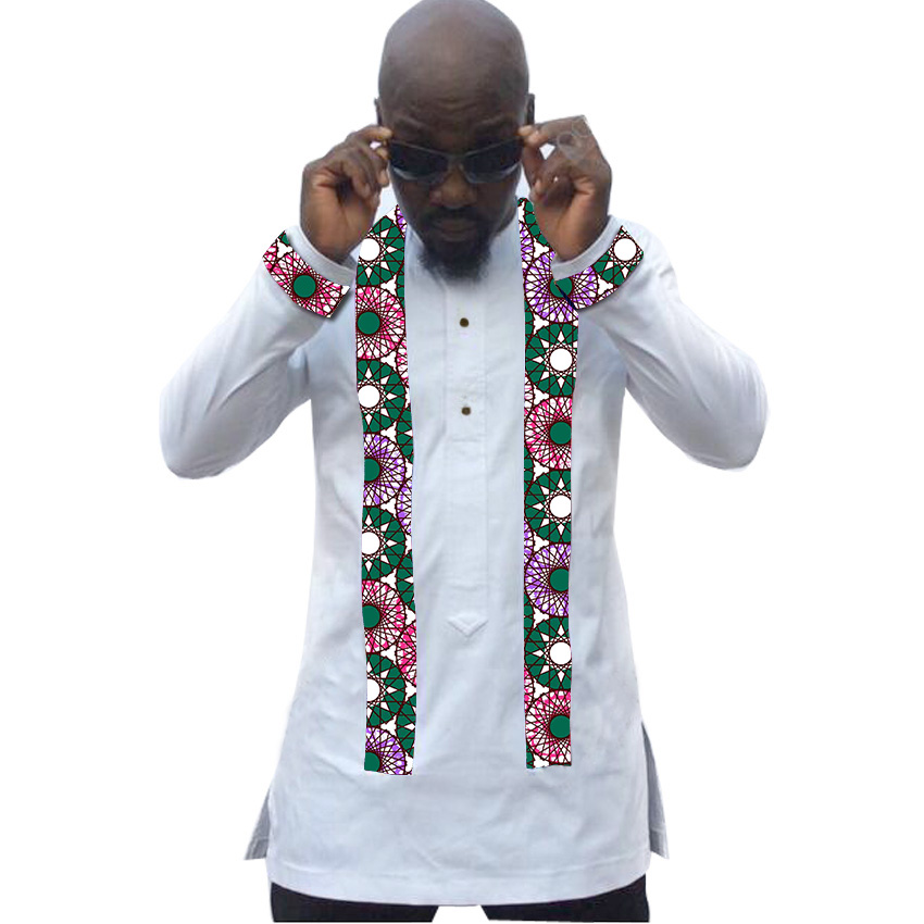 African men shirts ankara patterns white with print patchwork Africa fashion long sleeve tops bright wax wedding clothing
