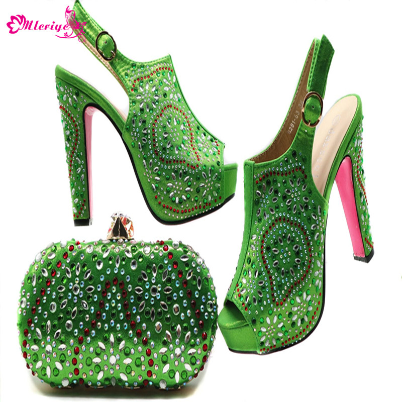 New Arrival Womens Dress Shoes Open Toe Elegant Women Wedding Shoes and Bag Set Decorated with Appliques Summer Shoes Women