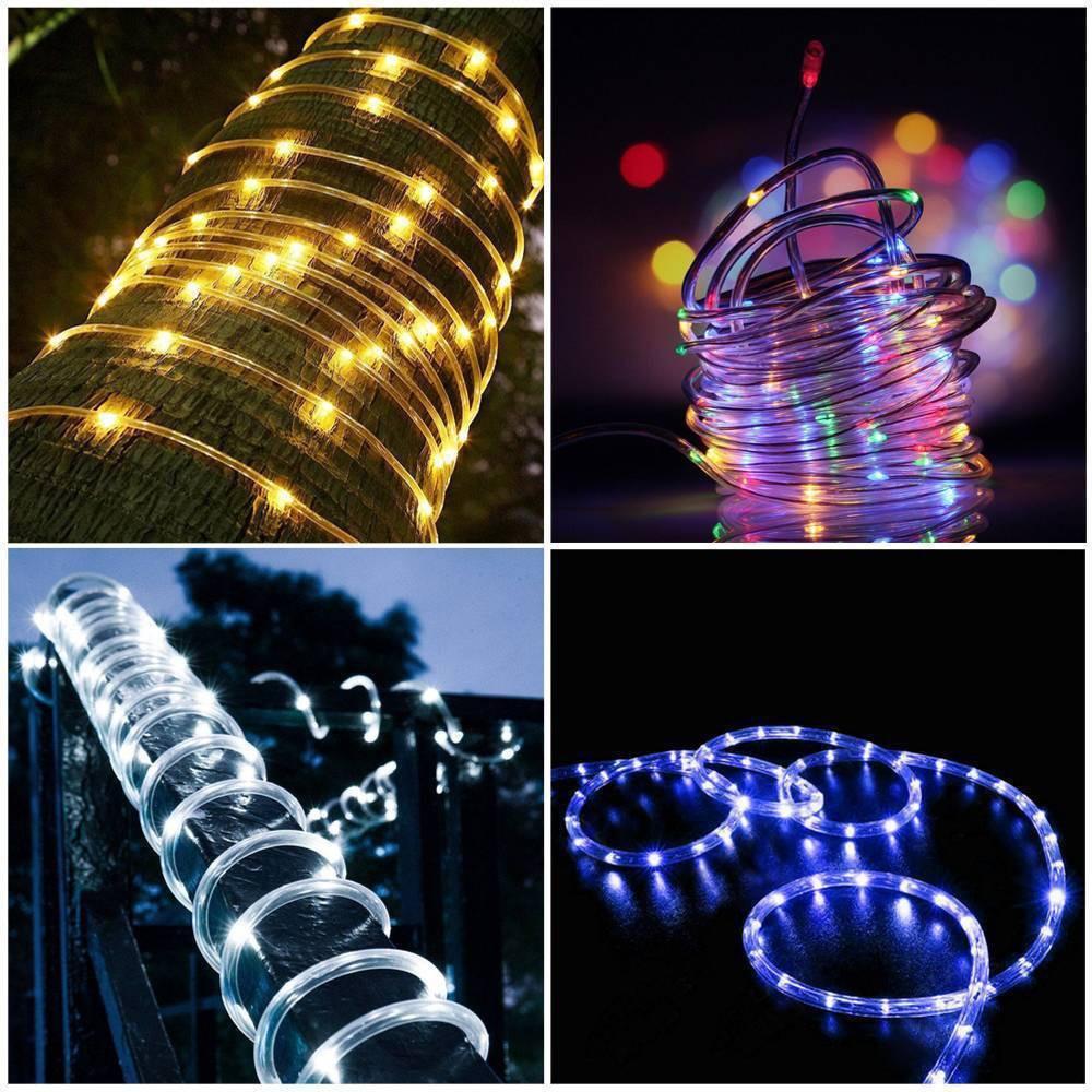 Waterproof 50/100 LED Fairy Lights Solar Powered Rope Tube Lamp Lighting String Christmas Decorative Garden Lights Solar Powered