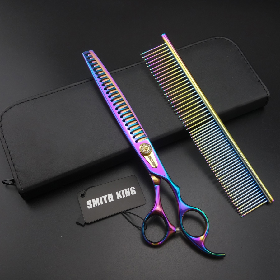 8 inch Professional PET Grooming scissors Fishbone teeth Thinning shears+Stainless steel comb+kits SUS440C Stainless steel K013 tesoura de tosa fenice