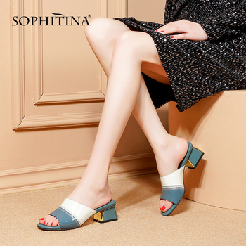 SOPHITINNA Fashion Women's Slippers Comfortable Square Heel Mixed Color Genuine Leather Unique Shoes New Explosion Slippers MO93